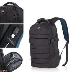 Бизнес Раница за лаптоп с USB кабел, подходяща и за спорт и туризъм, 17л, черна - SWISSDIGITAL