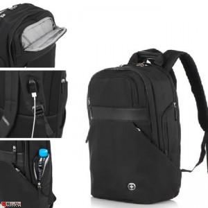Бизнес Раница за лаптоп с USB кабел, подходяща и за спорт и туризъм, 18л, черна - SWISSDIGITAL