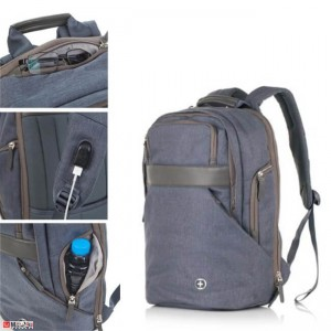 Бизнес Раница 18л за лаптоп с USB кабел, подходяща и за спорт и туризъм, синя - SWISSDIGITAL