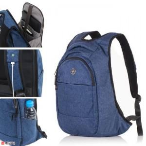 Бизнес Раница за лаптоп с USB кабел, подходяща и за спорт и туризъм, 18л, синя - SWISSDIGITAL