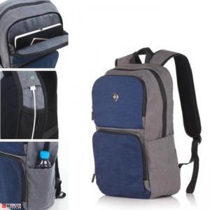 Бизнес Раница за лаптоп 20л, USB кабел, подходяща и за спорт и туризъм, синьо със сиво - SWISSDIGITAL